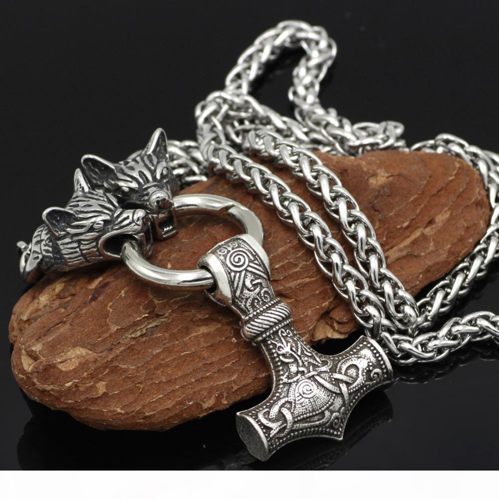 Joyería de los hombres nórdicos de Viking WolfThor Martillo Mjolnir joyería colgante para colgante plata de la manera de los hombres de la vendimia Collar