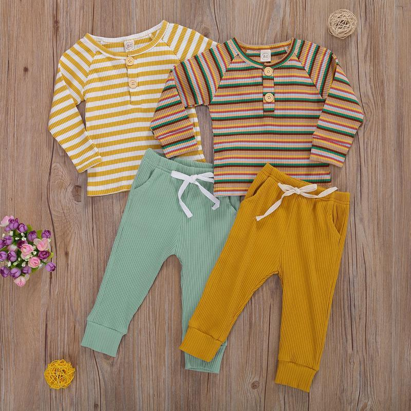 Equipamento do bebê Meninos Costume 2020 Botão luva longa listrada T-shirts Calças de malha Set Vestuário Define Roupa Diária Presente de aniversário