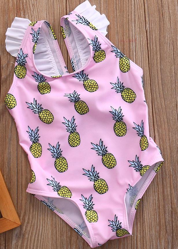 2020 الفتيات الصغير قطعة واحدة الأناناس الشريط ملابس السباحة طفلة الفواكه بحر الاستحمام دعوى ملابس السباحة السباحين زي