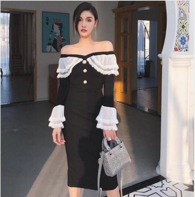 Camicie Set Lanterna vestito dalle donne estate nero bianco del merletto scava fuori sirena di Sey a manica lunga a vita alta Gonne Donna Autunno moda di New 2020