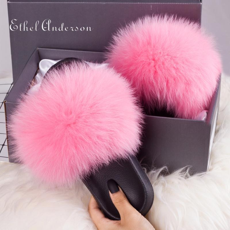 Nuovo Fluffy reale Raccoon Fur Stella diapositive Sweet Lady Fur pantofole Furry Sandalo Infradito casa Fuzzy Scarpe peluche femminile casuale
