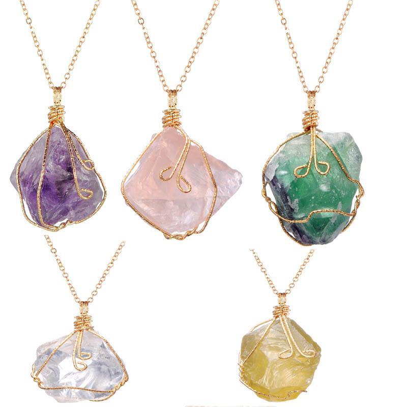 Natural Hot Raw Ore, Pierre Brute, irrégulière fil torsadé, cristal violet, cristal, collier pendentif en cristal blanc