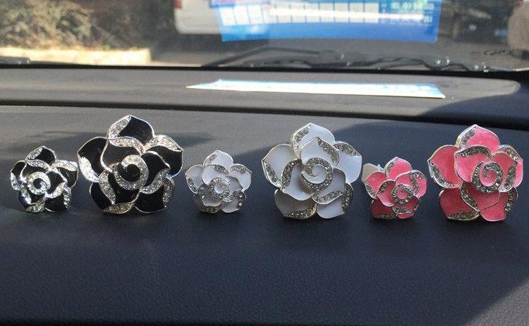2pcs Romântico Camellia Air Freshener Clipe Auto Condição Air Vent Car Fragrance Difusor Car Ornamento Styling com XCZ544 faixa #