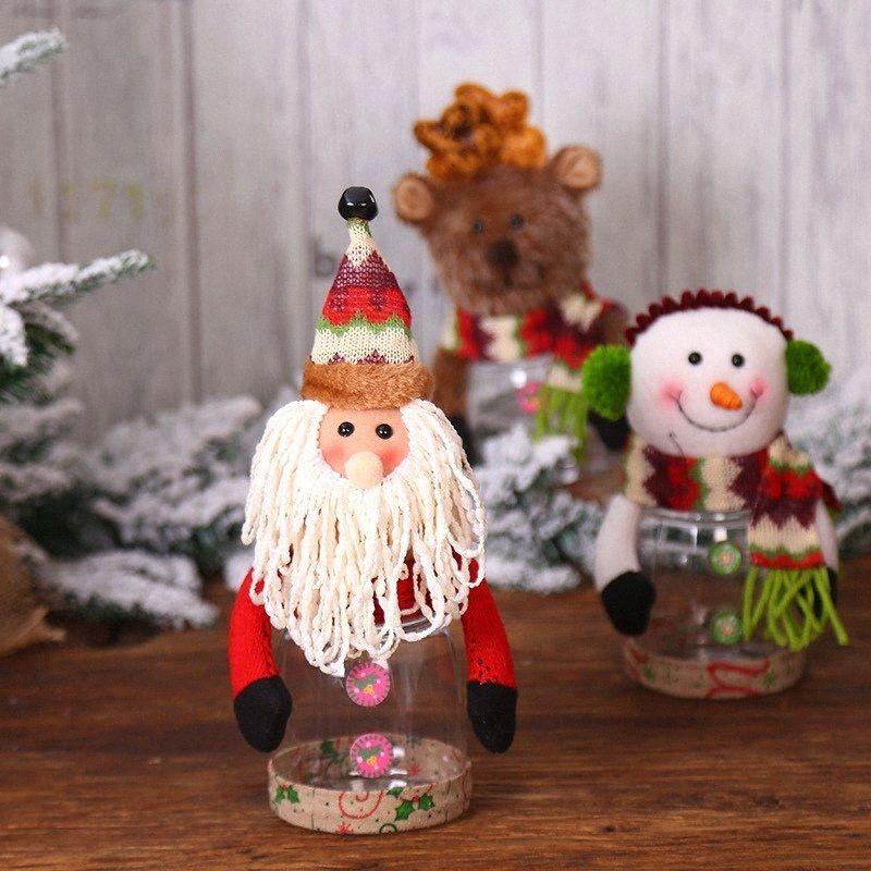 Jar caixa dos doces clara de Natal de plástico férias Armazenamento decorativa presente Container Bottle Titular Xmas festa natalícia do ornamento Decor O Ch o6mV #