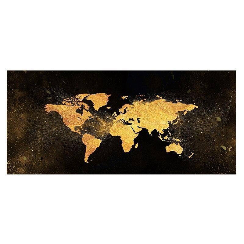 Özet Siyah Altın Dünya Haritası Kanvas Işık Lüks Posterler ve Baskılar Nordic Wall Art Resim Oturma Çocuk Odası Ev Dekorasyonu için Boyama