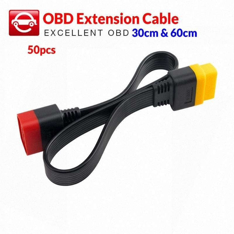 X431 V에 대한 50PCS OBD 연장 케이블 / V + / PRO / PRO 3 / Easydiag 3.0 길이 30cm 60cm SCIC #