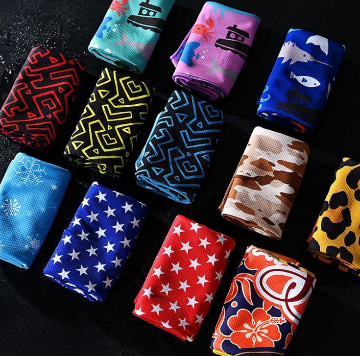 Dernière serviette de taille 100x30cm, plus de 20 styles à choisir, refroidissement rapide et imprimante en soie, serviettes froide absorbant