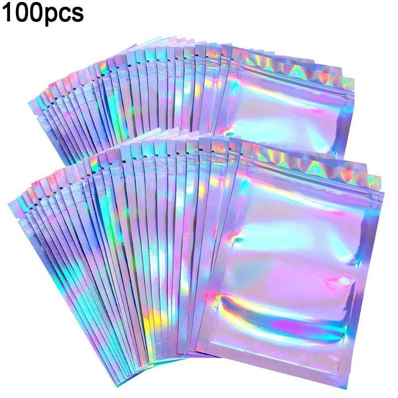 100Pcs / Set Temizle Holografik Lazer Seal Çanta Kirpikleri Paketi Depolama Kılıfı
