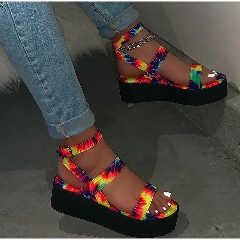 Moda Feminina sandálias coloridas Plano Verão Imprimir Ladies Ankle da bracelete Sandalias Mujer Shoes Feminino Mulher Casual