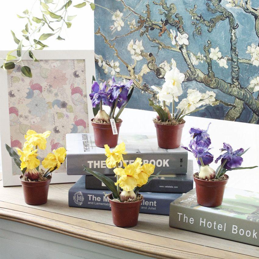 3 couleur 15cm artificielle fleur en pot-de-luce Lifelike plante en pot artificielle pour le mariage Accueil Party usine Décorations directement vente