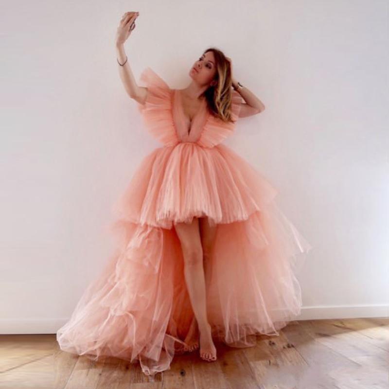 2020 Fada Blush Rosa Alta Baixa Vestidos Prom profunda V Neck camadas Tutu Saias mangas curtas Cocktail Party Dress Yong Meninas baratos Vestido de Noite