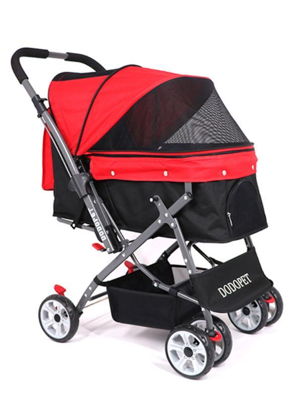 Foldable Four-season Universal Pet Stroller Large Space Cat And Dog Stroller Four-wheeled Travel Supplies Small Dog