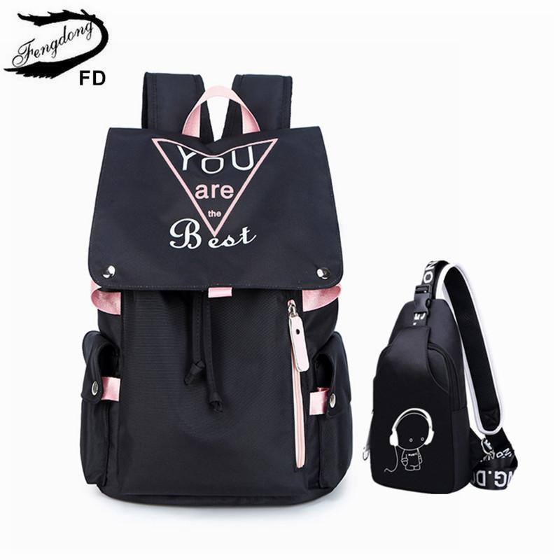 2pcs Fengdong / set mochila bolsa de la honda del pecho luminosa conjunto de la escuela chica adolescente establecen las bolsas de la escuela secundaria para niñas viajan mochila portátil