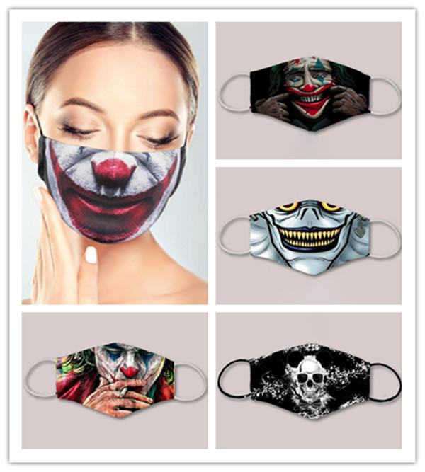 US STOCK Enfants adultes 3D Cartoon Impression numérique Masque de protection lavable anti-poussière Masque Masque polyester visage pour les enfants FY0065