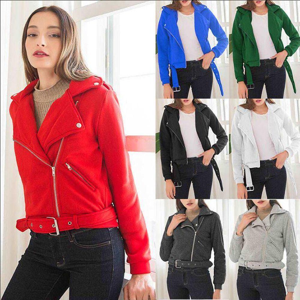 Punky del suéter de la personalidad de la chaqueta corta femenina de las mujeres del invierno del otoño de la solapa de las mujeres