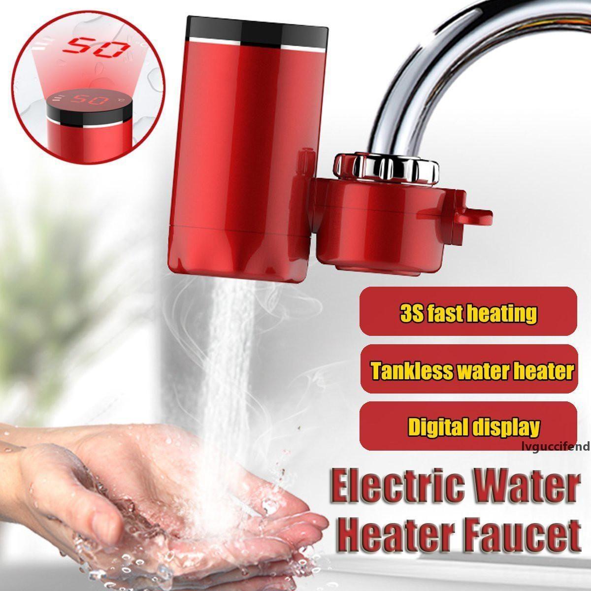 Mutfak Musluk Anında Sıcak Su 3000W Dijital LCD Ekran Elektrik Musluk Şofben Elektrikli Tankless Hızlı Isıtma Su dokunun T200423