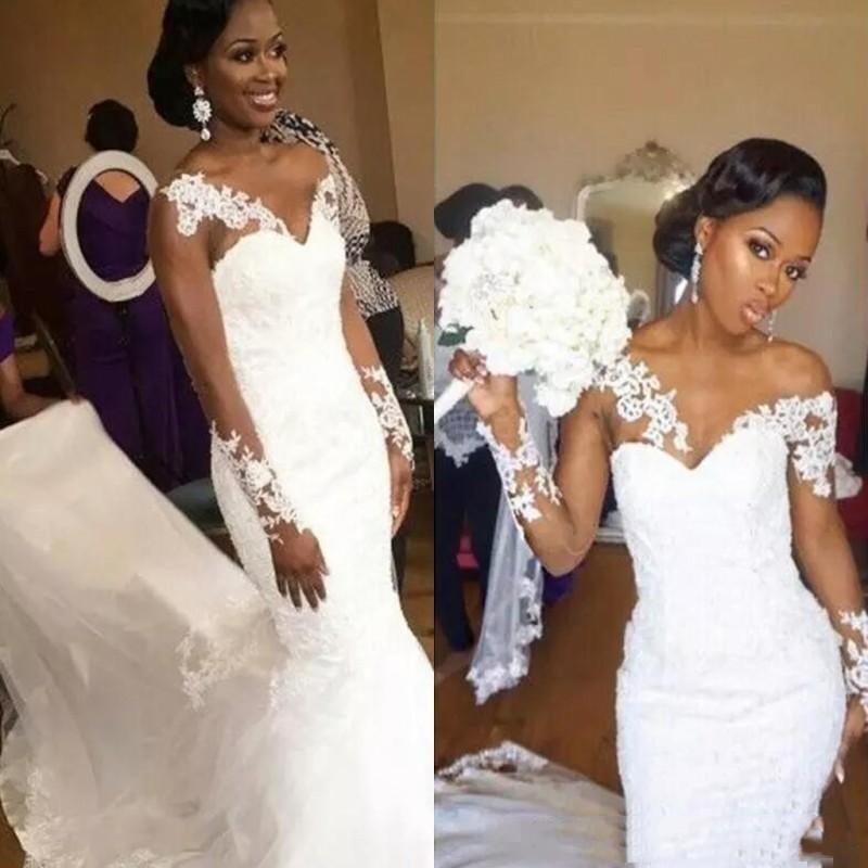 Sexy abiti da sposa Scollatura maniche lunghe in pizzo sirena di Applique Abiti da sposa posteriore della chiusura lampo su ordine abiti di nozze