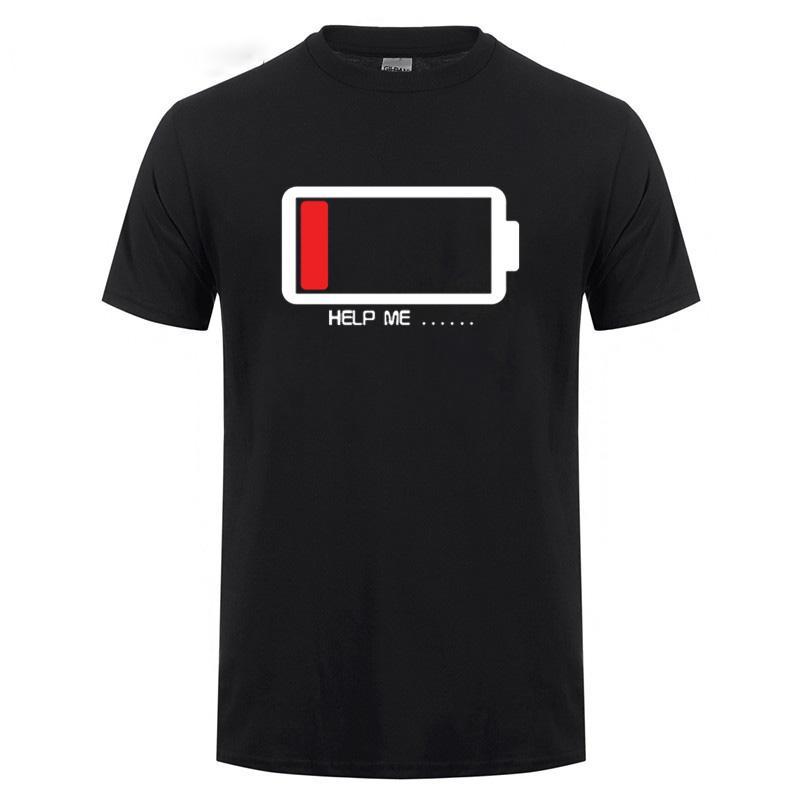 T-Shirt For Men Masculino Harajuku aptidão Funny T Shirt Verão Cotton Impresso Battery Low Energy Help Me Tops Paried T Camiseta T
