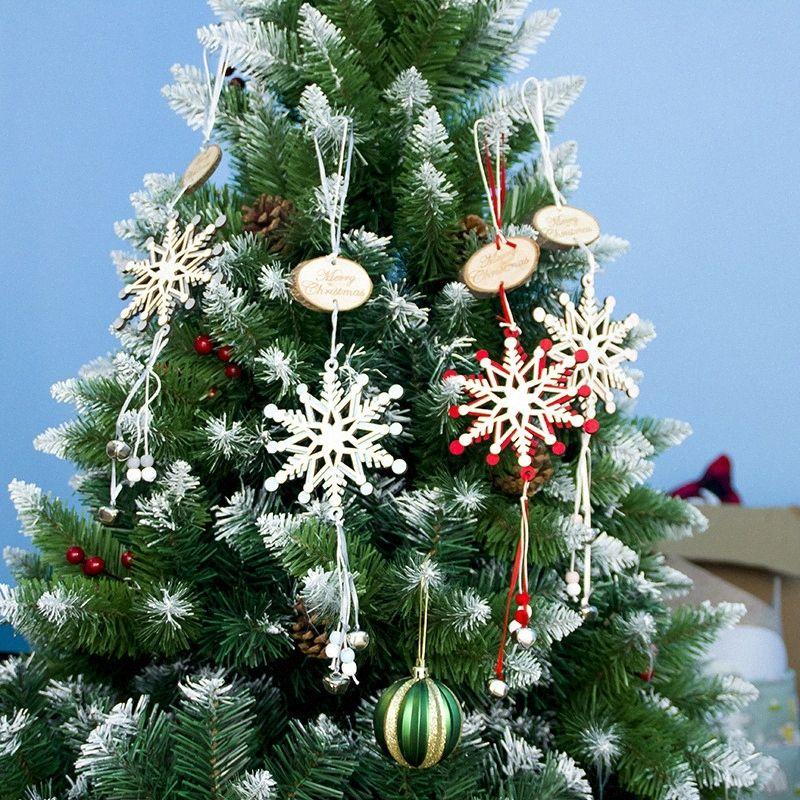 Noël flocon de neige en bois Sculpture Pendentif Babioles Artisanat du bois pour Arbre de Noël Fête de Noël Décoration Hanging Ornements hfRJ #