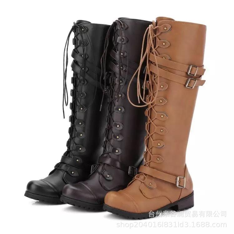 19 speed long boots large size boots European and American women's New Winter wis solid color button Lace Up