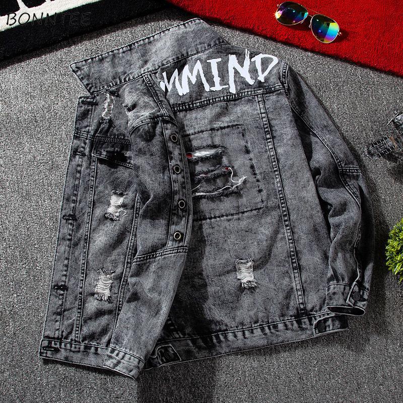 Ebaihui Jackets Men Denim Carga Windbreak Moda Corredores riscado Outwear Mens Buracos Jeans Bomber Jacket Magro aptidão melhor qualidade