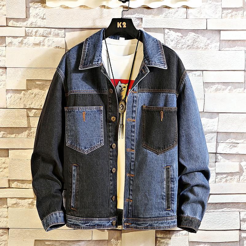 Songsanding molla di autunno 2020 più di formato 5XL 4XL-L MAX PETTO 146cm Denim Jeans rivestimento degli uomini del collare del basamento di moda casual Abbigliamento