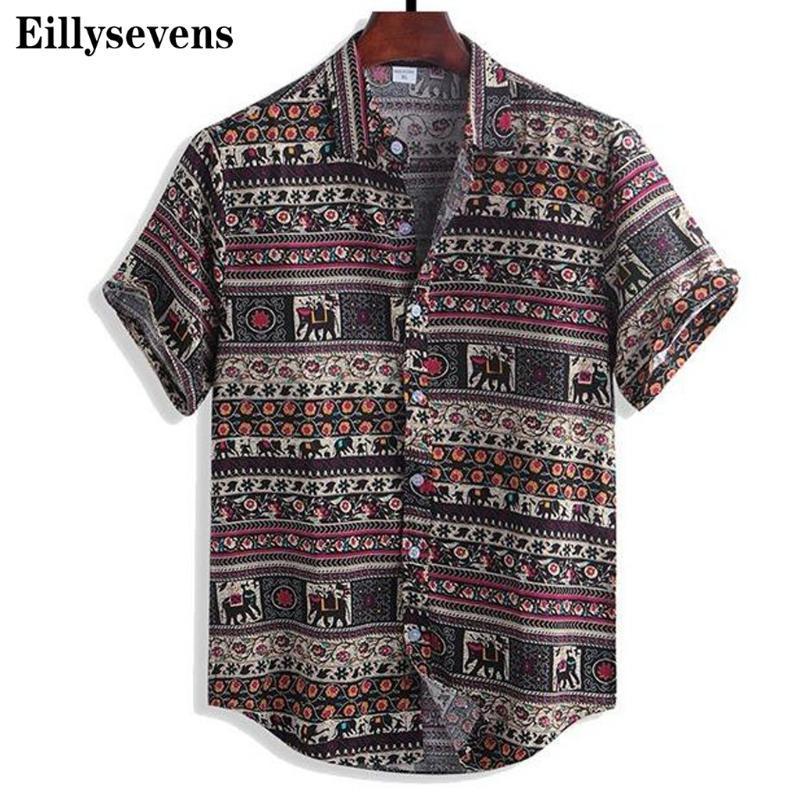 Verano para hombre de la moda étnica de la manga corta de playa casual camisa de impresión hawaiano de descubierta botón de collar camisa de vacaciones # p3