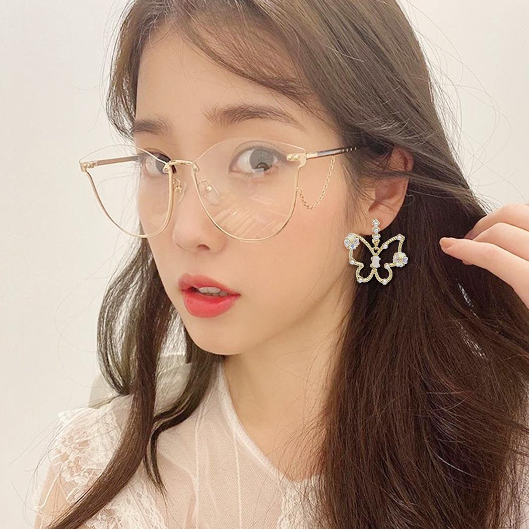 Fashion Cute Butterfly-shaped with Imitation Pearl Shell Colorful Full Rhinestone Stud Dangle Earrings for Women