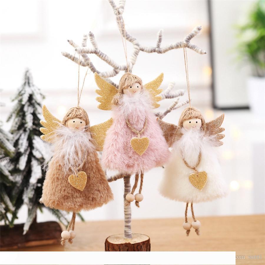 Árbol de Navidad colgante de la Navidad Adornos Ángel muñeca de la felpa juguetes colgantes Niño Regalo lindo muñeca Año Nuevo decoración casera creativa Crafts JK1910