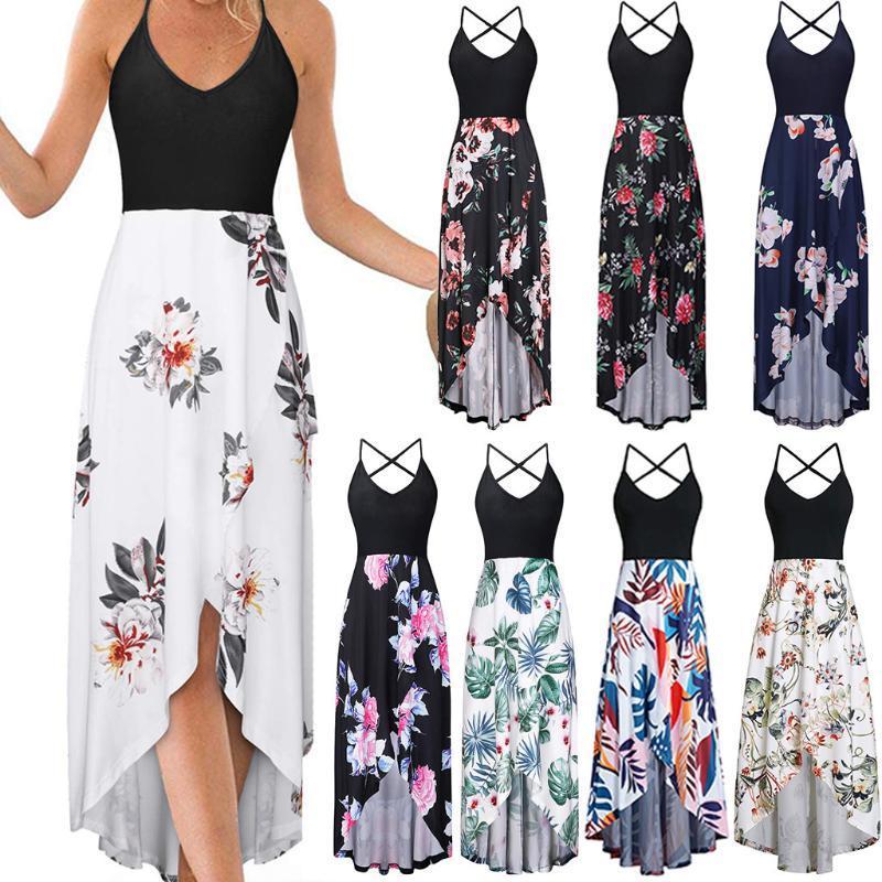 2020 mujeres del tamaño del vestido del verano envío de la gota del producto vestido de Boho de señora Beach Summer Sundrss Maxi Plus sin mangas de la camiseta atractiva