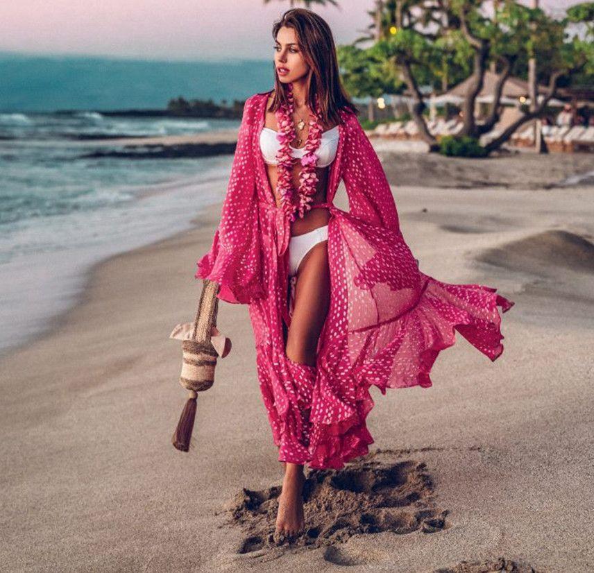 Chiffon polka Bikini Brasão ponto impresso praia protetor solar sexy cardigan feriado biquíni vestido de camisa cobertura externa