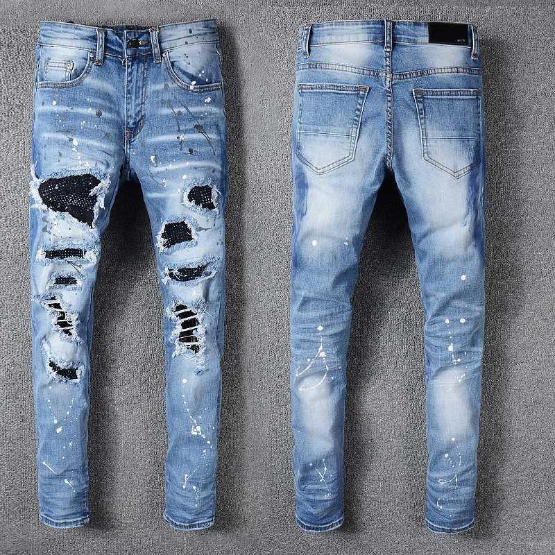 LuxuxMens Destroyed Jeans Strass Kristall Patchwork Light Blue zerrissene Jeans-dünne Stretch-Denim-Hosen Hip Hop Männer