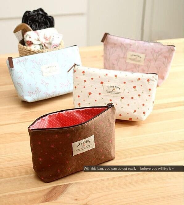 Корейский стиль пастырской стиль небольшой цветочный макияж свежий сумка для хранения большой емкости мешок карандаш карандаш