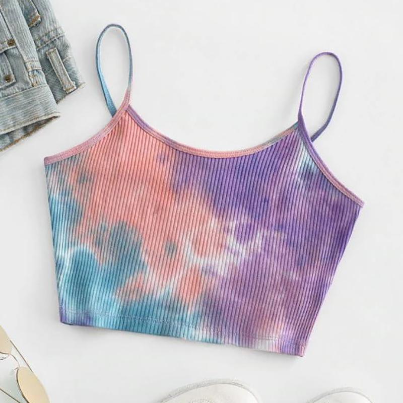 Tie Dye печати ремешками Жилет для женщин Summer Casual ребристые Crop Tops Camis Мода Спорт Bras Женщины Спорт Танки
