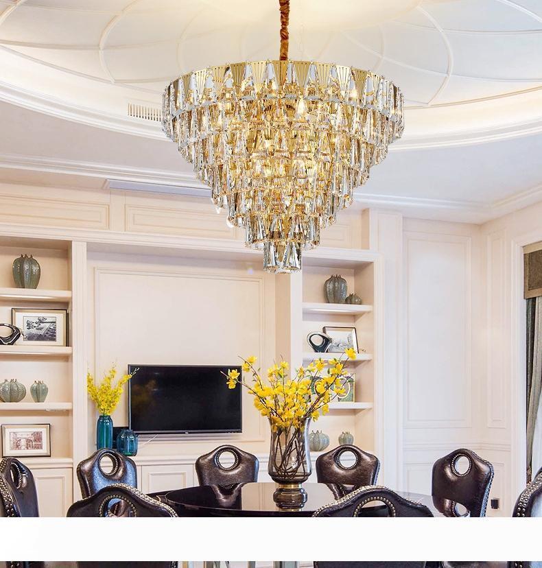 Современная вилла гостиной привело хрустальные люстры свет простой кулон кулон лампа свет постмодернистской столовая спальня