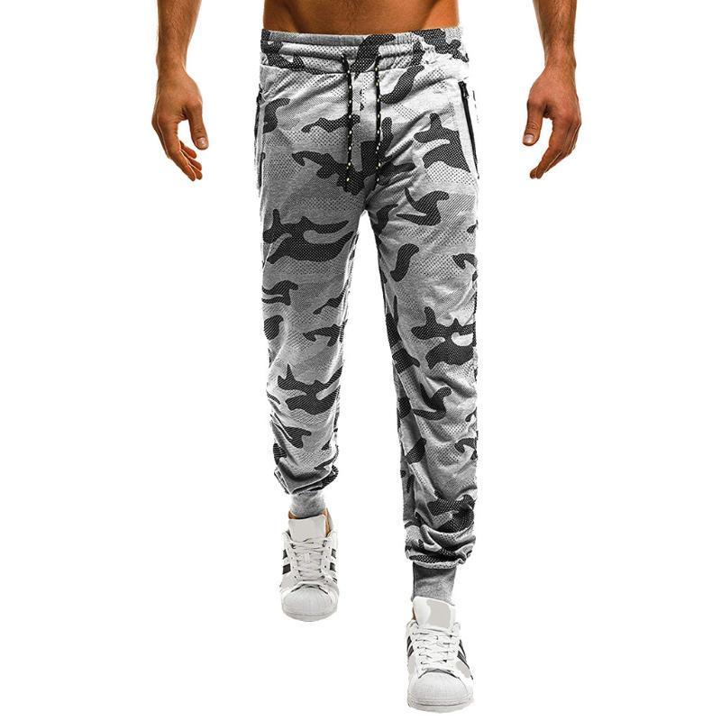 Sport pantalones ocasionales de los hombres de los hombres de las correas de amarre Deporte camuflaje floja ocasional al aire libre con capucha elástica pantalones # G40