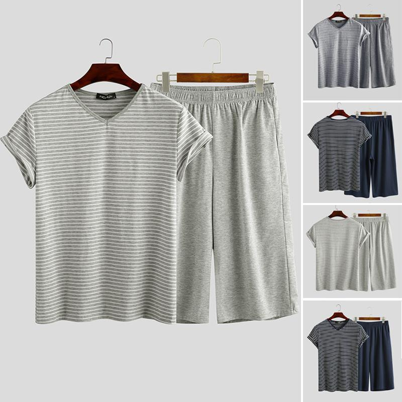 2020 Fashion Men Sleepwear Suits Men Striped Pajamas Sets Summer V Neck Leisure Short Sleeve T Shirts Casual Shorts Nightclothes