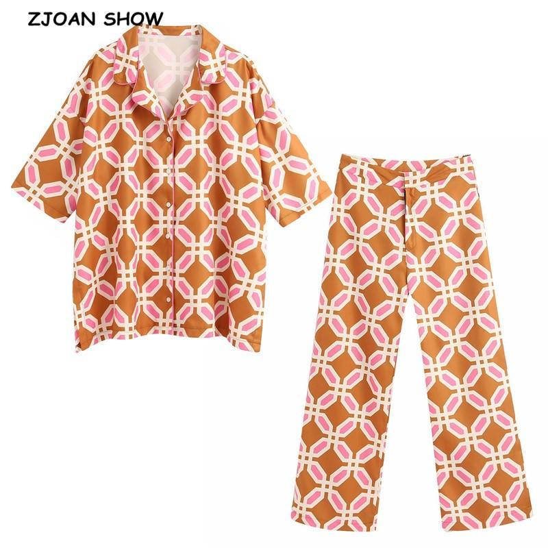 2020 Yaz Turuncu Geometrik Ekose Baskı Gömlek Yüksek Bel Geniş Bacak Pantolon Kadınlar Yarım Yarasa Kol Bluz 2 adet Set Tops