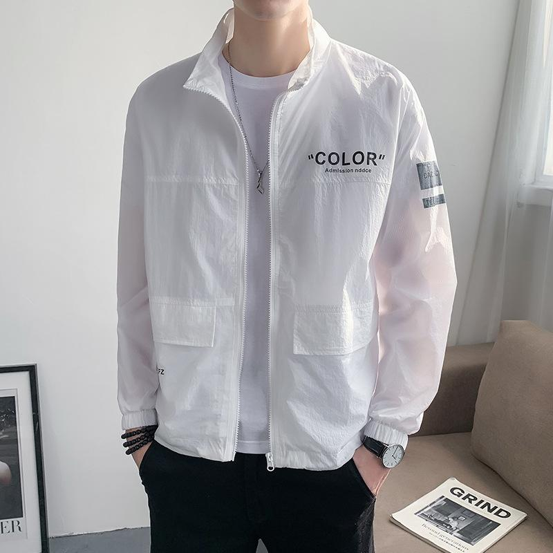 QwyOV Fanwo FW6294 2020 new fashion Men's lapel letter printing sunscreen coat Fanwo FW6294 2020 new fashion Men's lapel letter printing sun