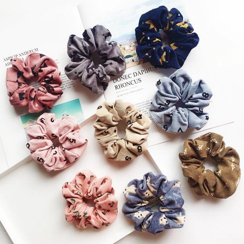 Mulheres Tie cabelo Headwear meninas Corda Scrunchie estiramento Headband Scrunchies rabo de cavalo titular Inverno Cabelo Acessórios 5 New Designs DW4862