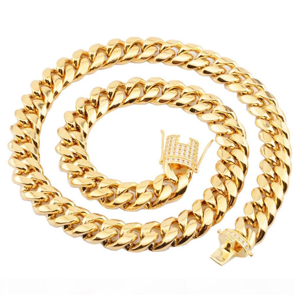 12 millimetri in acciaio inossidabile cubano collana gioielli Hip hop oro CZ Chiusura Mens Collana link 18-20inch