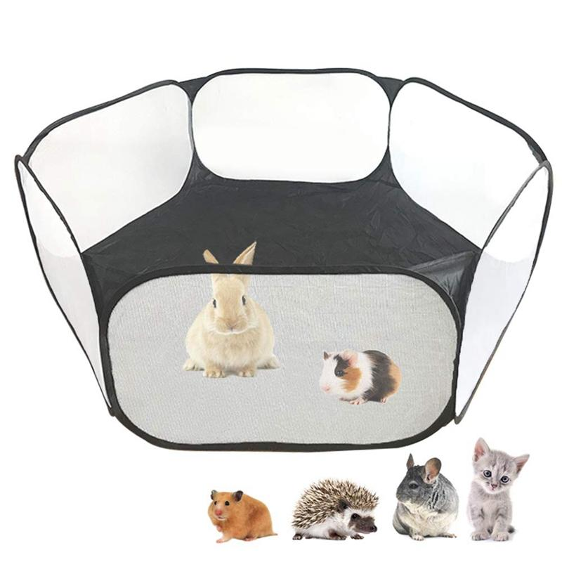 Small Animals C&C Cage Tent Breathable & Transparent Pet Playpen Open Outdoor/Indoor Exercise Fence Portable Yard Fence