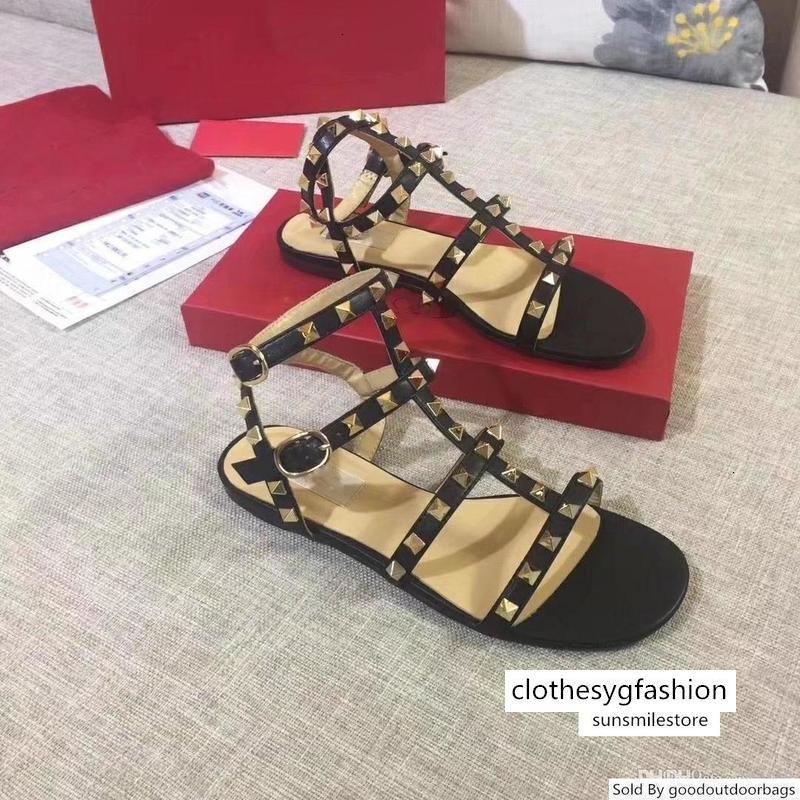 Entrega Cor Rebites cravados Gladiador Sandálias Flat Pedras Studded Virar Sandália Big Designer Women s Shoes baratos Verão Tamanho 3