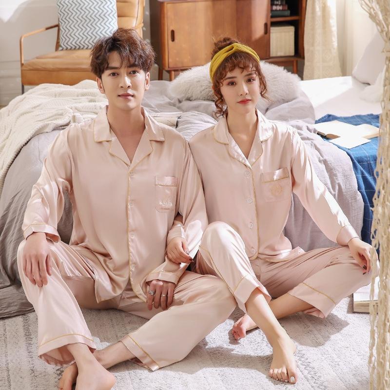 aI14x pijamas primavera de simulación de hielo otoño chaqueta de punto de seda y pijamas fMrYt manga hom de la mujer atractiva delgada larga de los hombres del juego par seda de imitación
