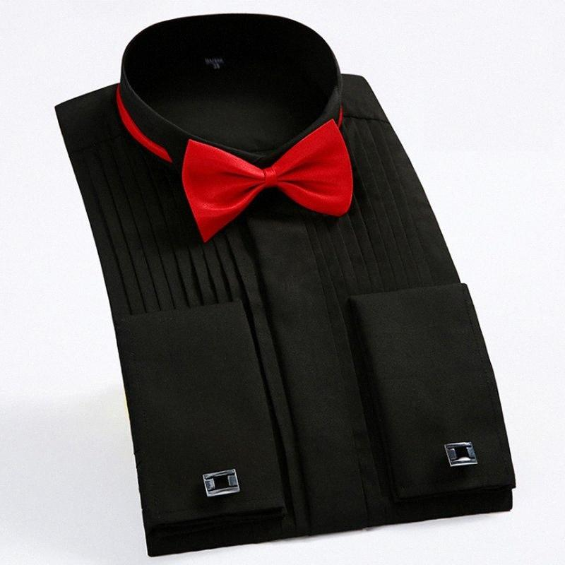 Hommes Français Cuff Tuxedo Chemises solides Couleur bout d'aile col Chemises Homme manches longues chemises habillées mariage formel Epoux Tops Gxry #