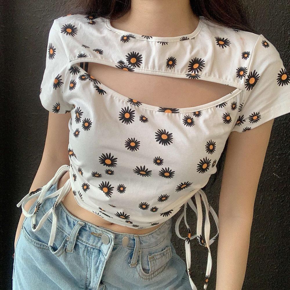 Mode Gänseblümchen Druck Frauen Tops Tees aushöhlen Plissee Gurt-Dame T-Shirt Nizza Sommer Laptops 2020