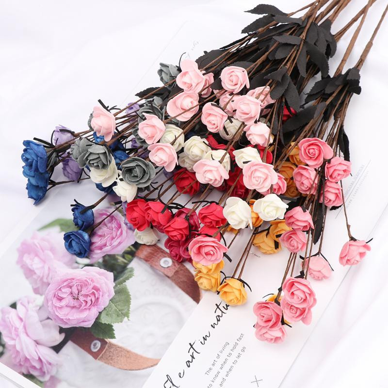 15 Heads Artificial Simulation Rose Flower 9 Colors Realistic Fake Silk Blue Rose Flowers Bouquet Home Weeding Party Decoration