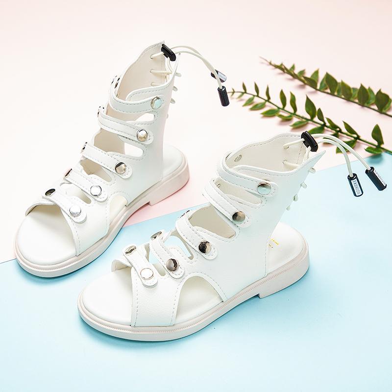 girl Roman sandals children open toe high help sandals non-slip kids girls leather with zipper SSJ100