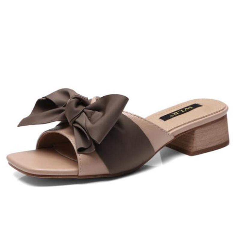 Новые женские сандалии моды лук Толстый каблук Открытый носок Трусы Летняя обувь Женщины Sexy Party случайный пляж Обувь женская sh456