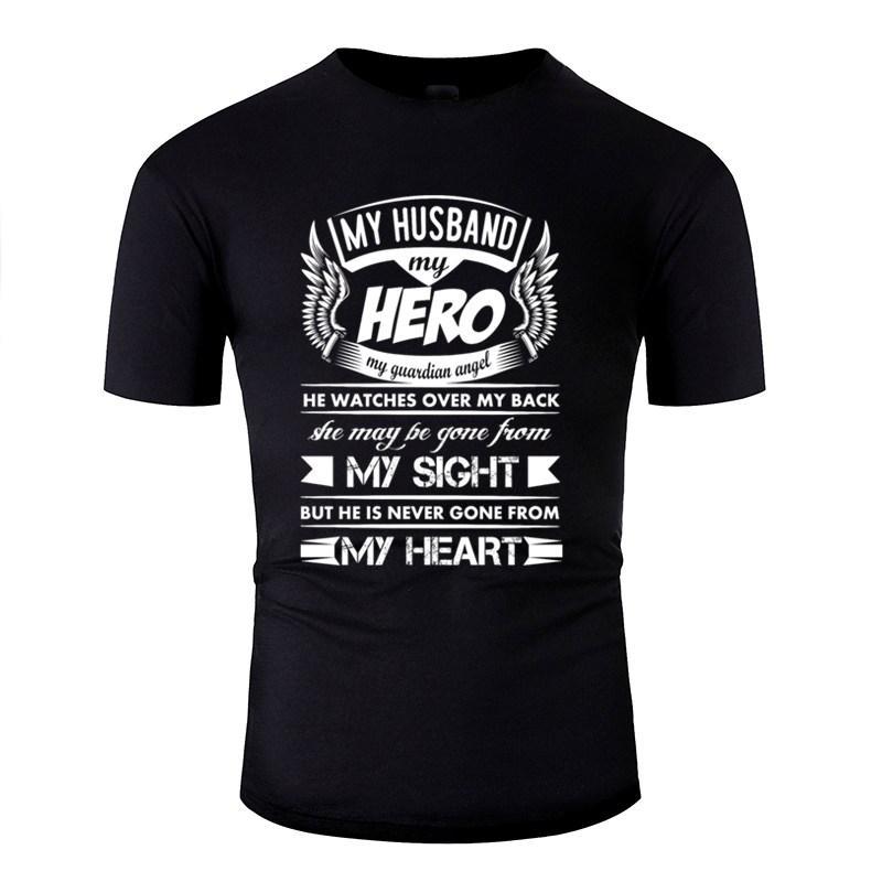 Personalizadas Ocio mi héroe mi marido T-shirt de la técnica clásica Casual Hombres Camisetas clásicas del color sólido de 2020